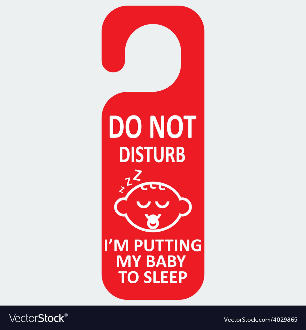 Hotel tag do not disturb with baby sleep vector | Price: 1 Credit (USD $1)