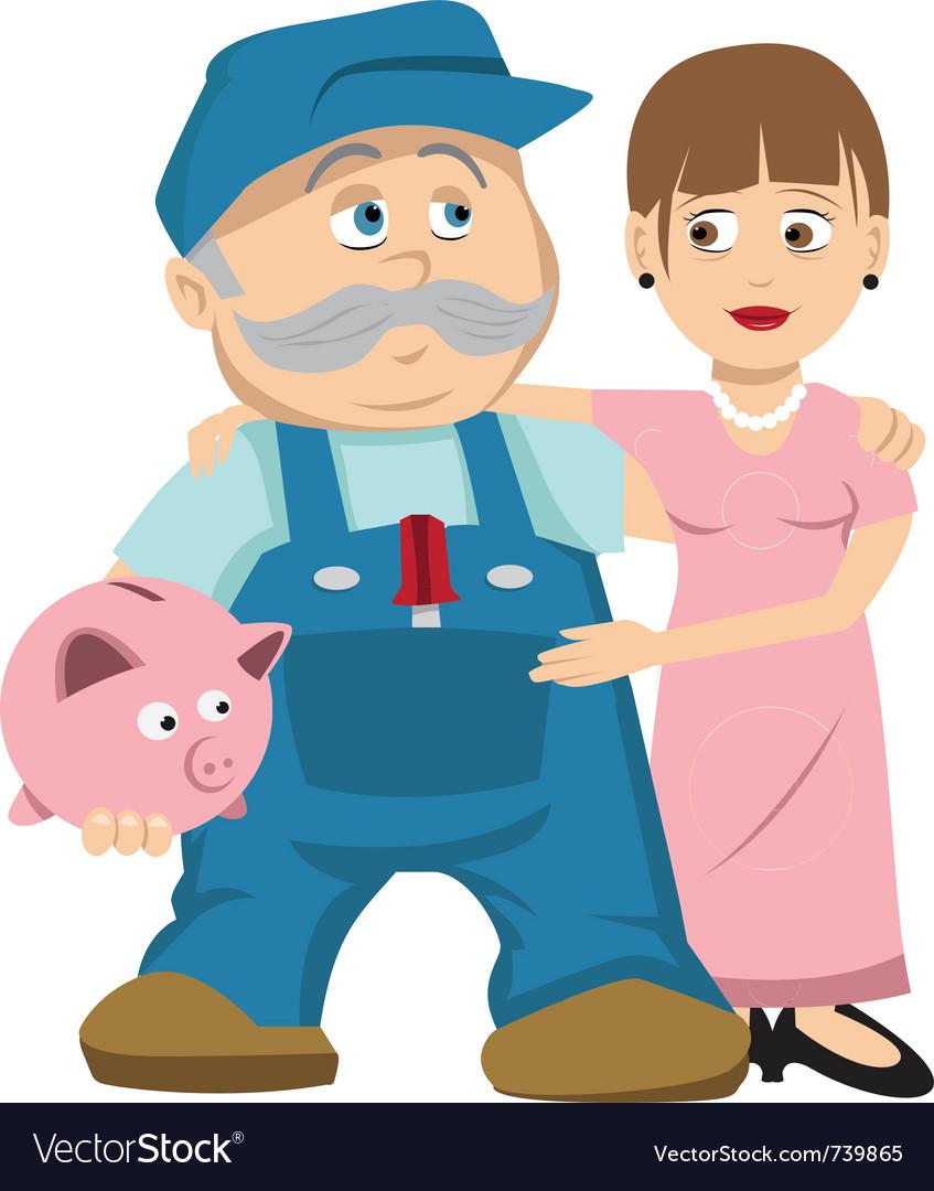 Husband wife savings vector | Price: 3 Credit (USD $3)