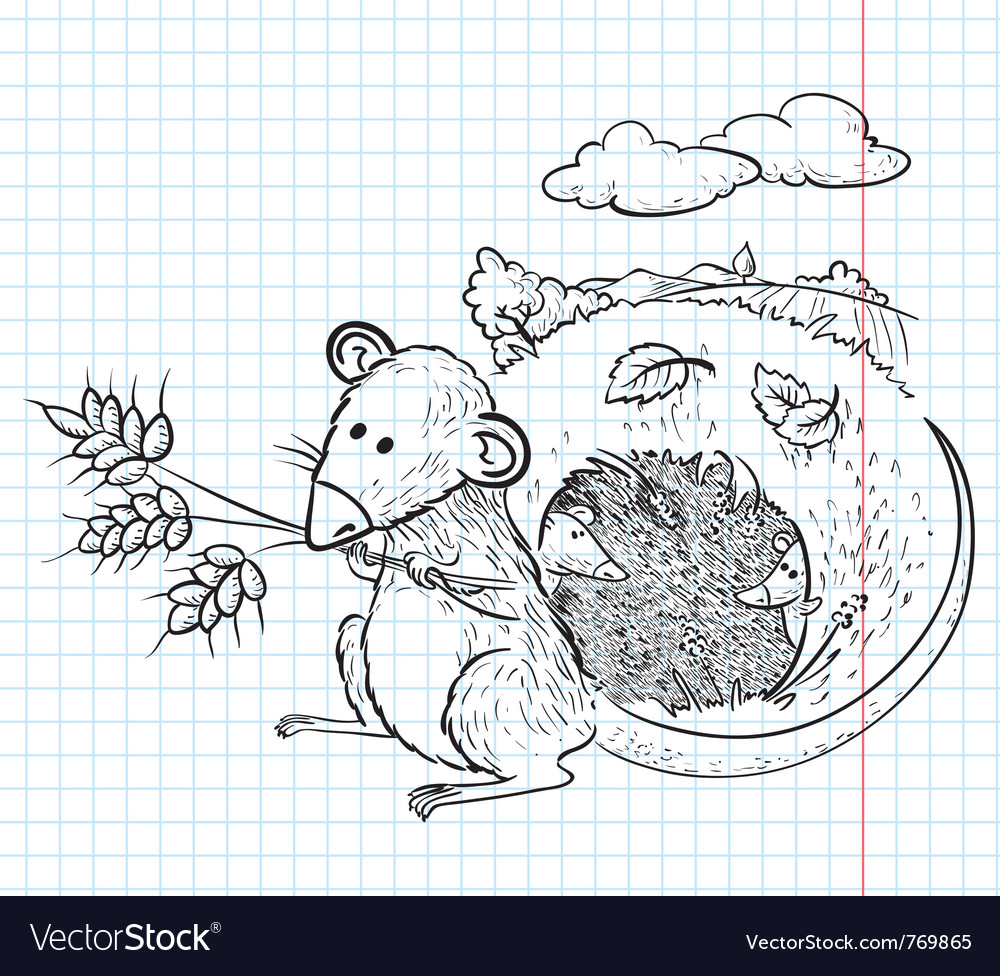 Mouse with ears of wheat vector | Price: 1 Credit (USD $1)