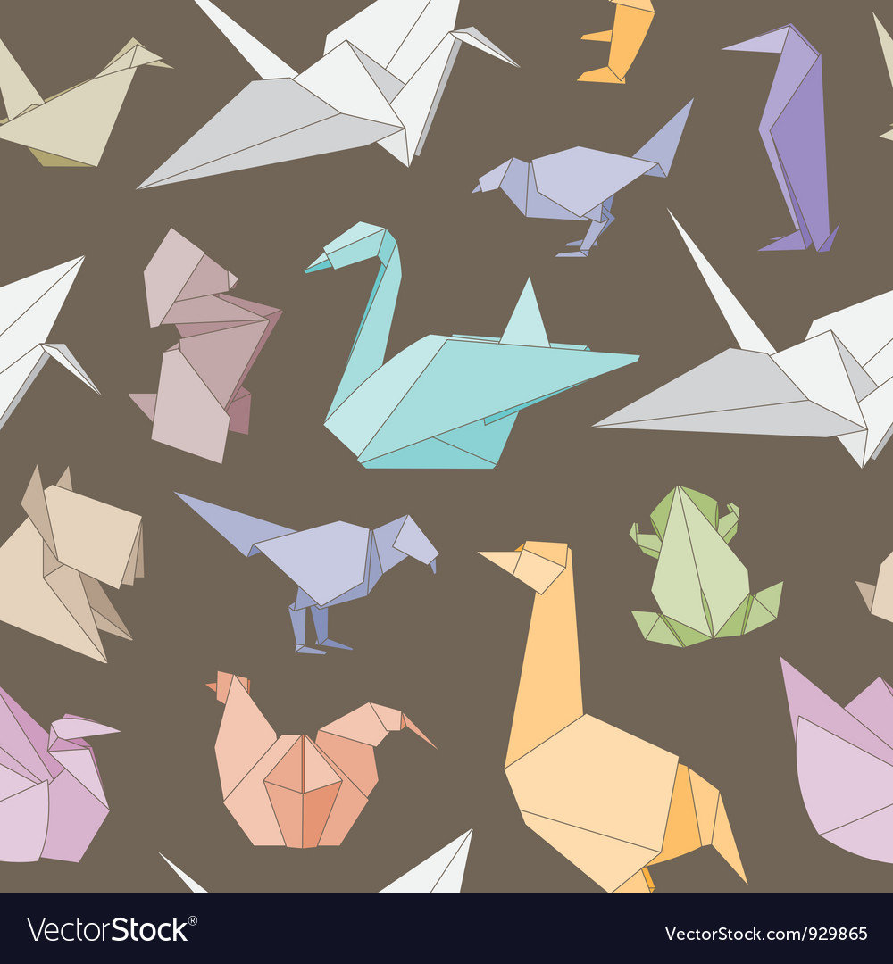 Origami animals seamless pattern vector | Price: 1 Credit (USD $1)