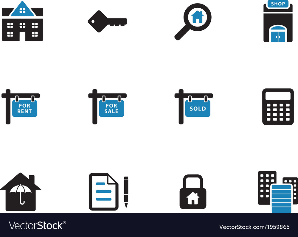 Real estate duotone icons on white background vector | Price: 1 Credit (USD $1)