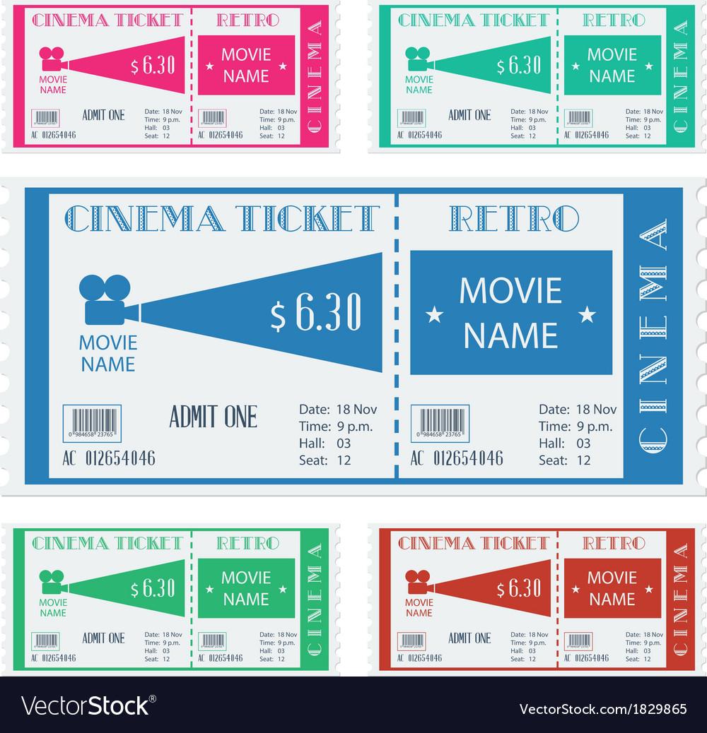 Retro cinema ticket vector   Price: 1 Credit (USD $1)