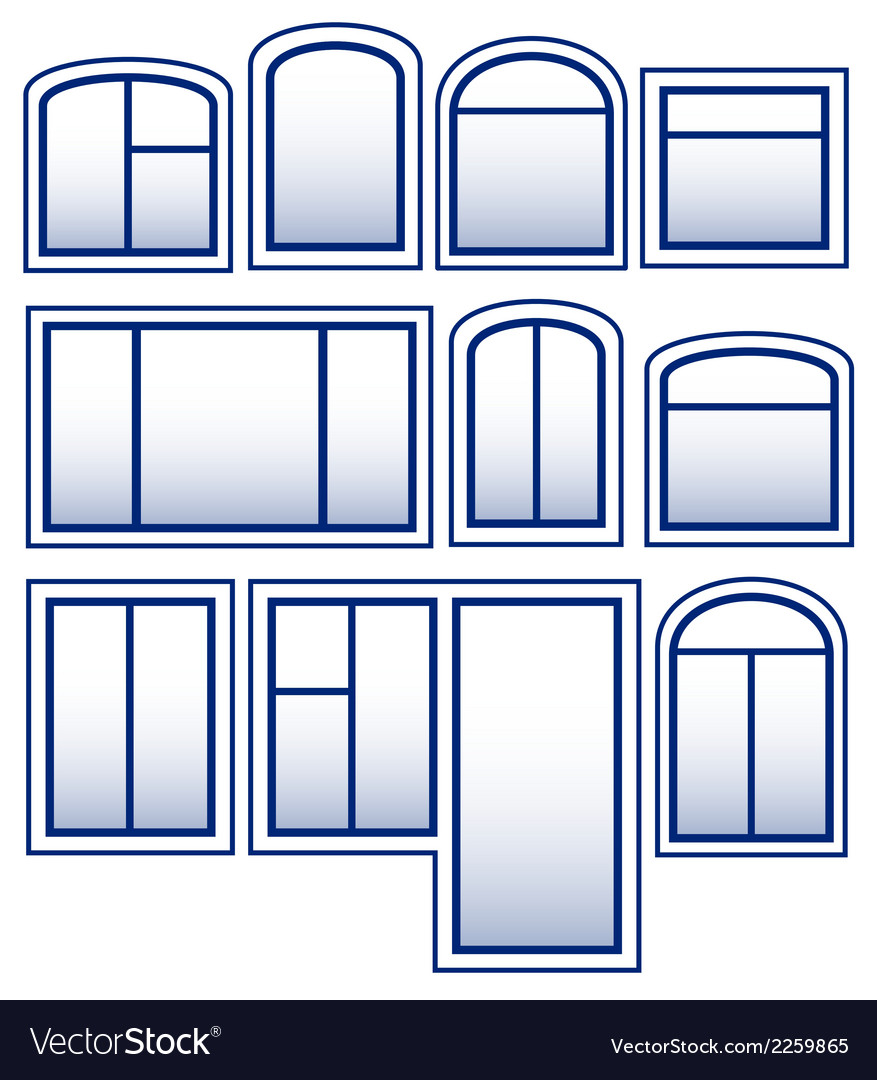 Set blue isolated window vector | Price: 1 Credit (USD $1)