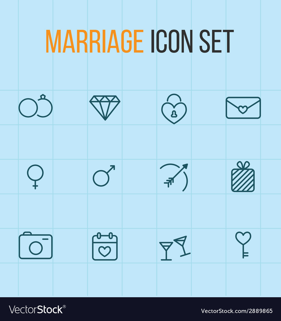 Set of outline marriage icons vector | Price: 1 Credit (USD $1)