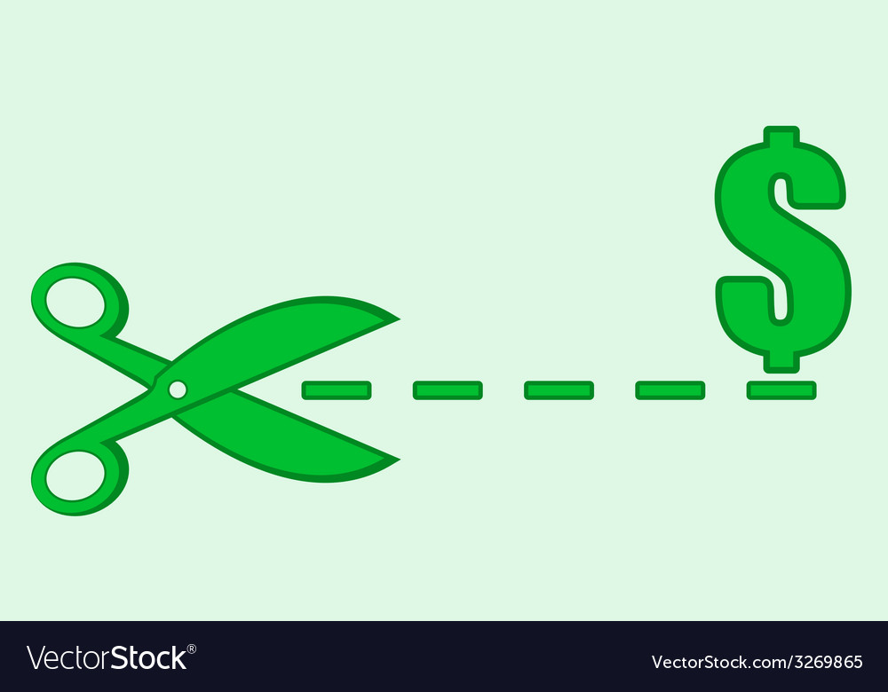 Sign with scissors and money discount vector | Price: 1 Credit (USD $1)