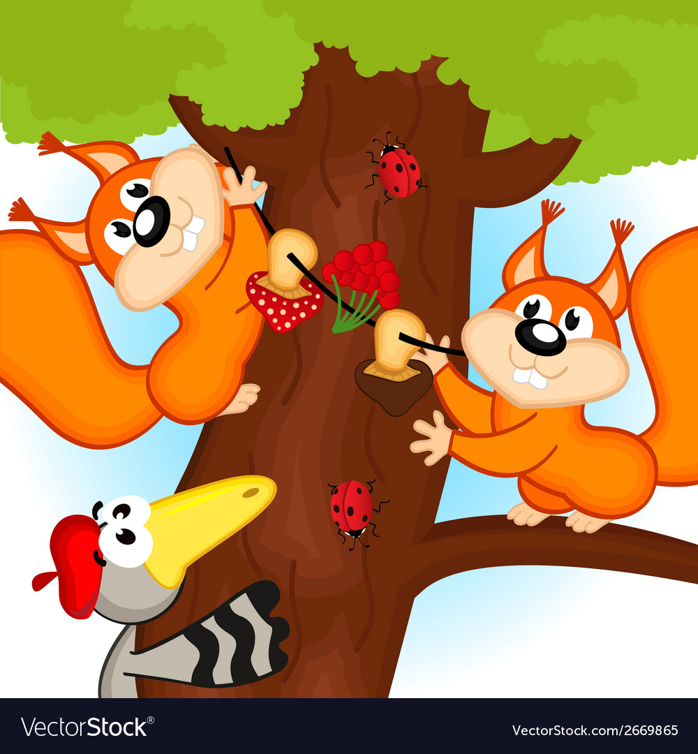 Squirrel on tree vector | Price: 1 Credit (USD $1)