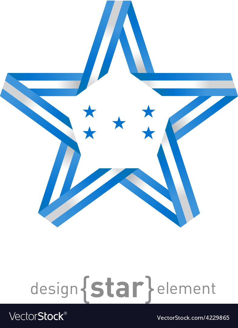 Star with honduras flag colors and symbols design vector | Price: 1 Credit (USD $1)