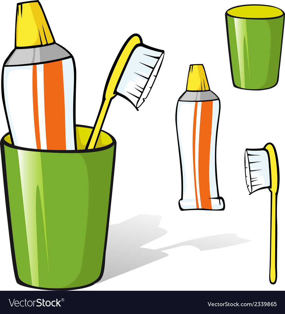 Toothbrush and toothpaste in a cup vector   Price: 1 Credit (USD $1)