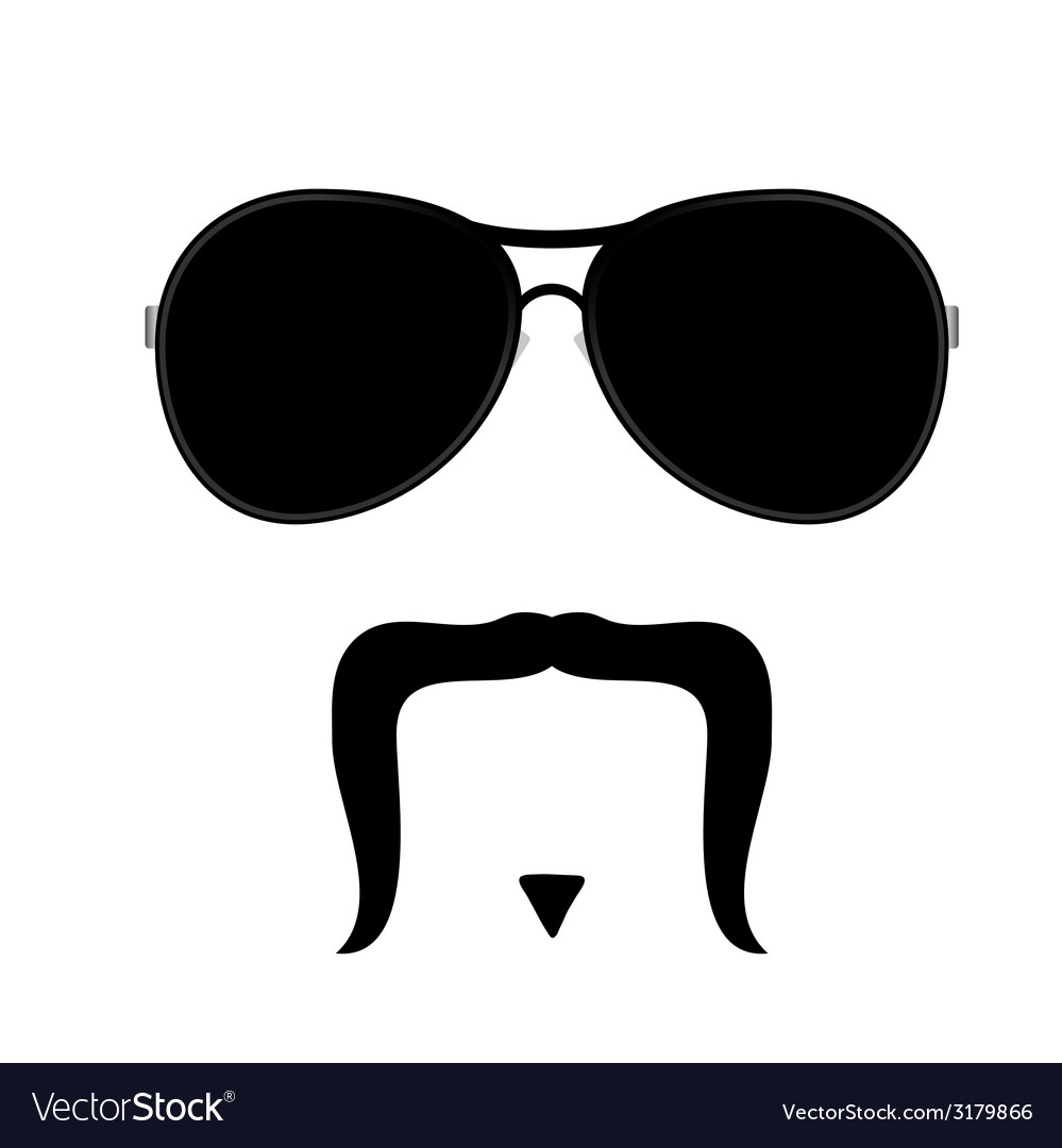 Face with mustache one vector | Price: 1 Credit (USD $1)
