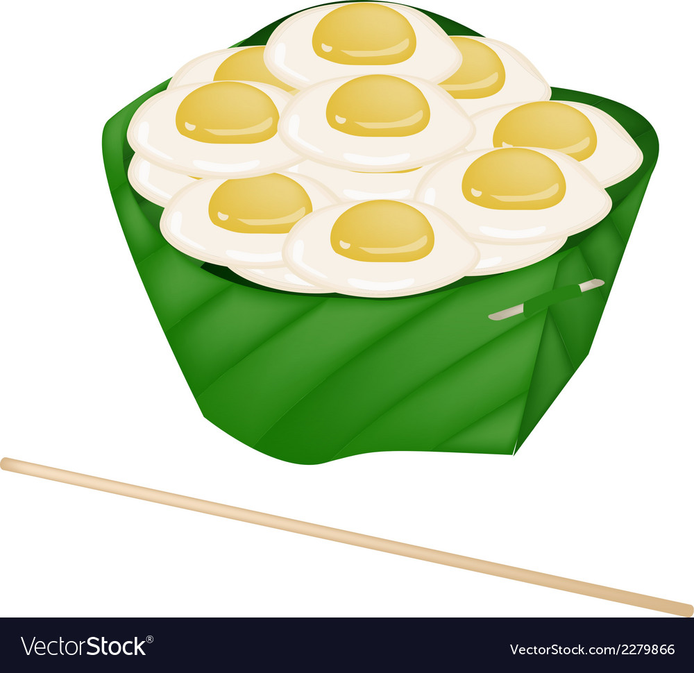 Fresh fried quail eggs in counts banana leaf vector | Price: 1 Credit (USD $1)