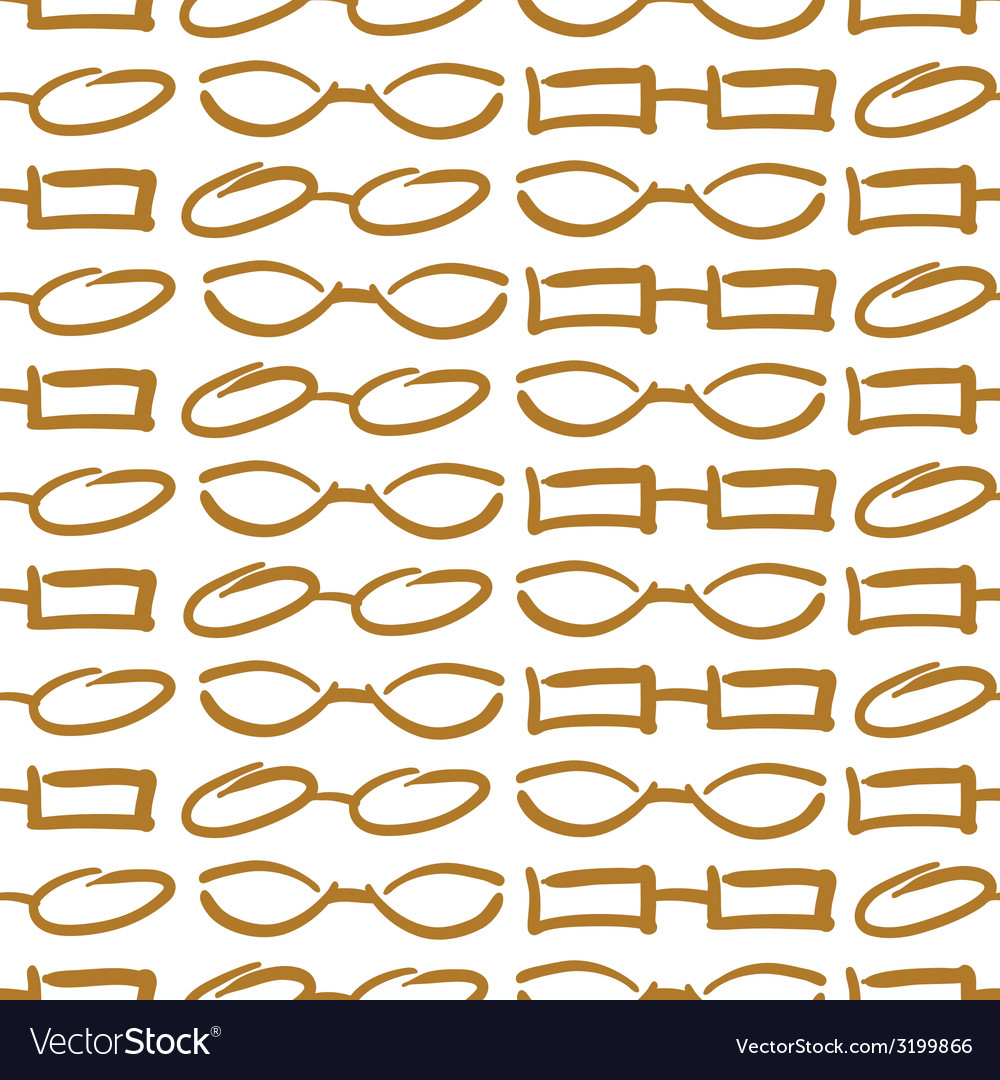 Glasses and sunglasses gold seamless pattern sketc vector | Price: 1 Credit (USD $1)