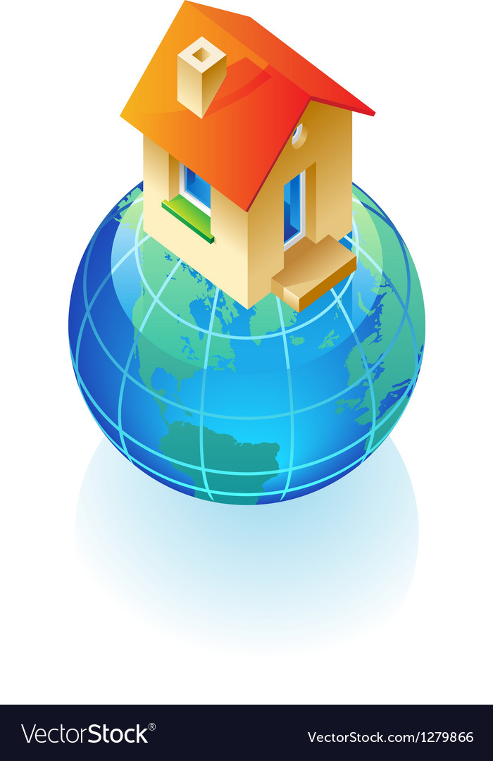 Globe and house concept vector | Price: 1 Credit (USD $1)