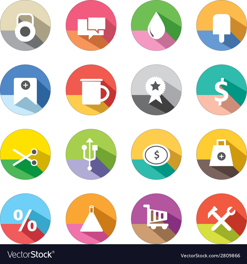 Long shadow icons 2 vector | Price: 1 Credit (USD $1)