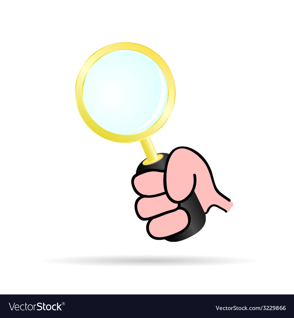 Magnifying glass in hand vector | Price: 1 Credit (USD $1)
