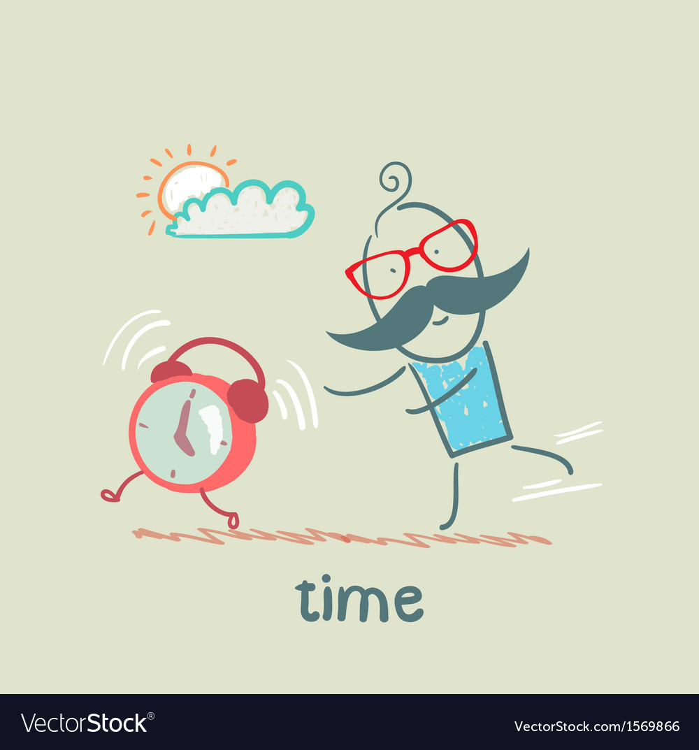 Man catching clock vector | Price: 1 Credit (USD $1)