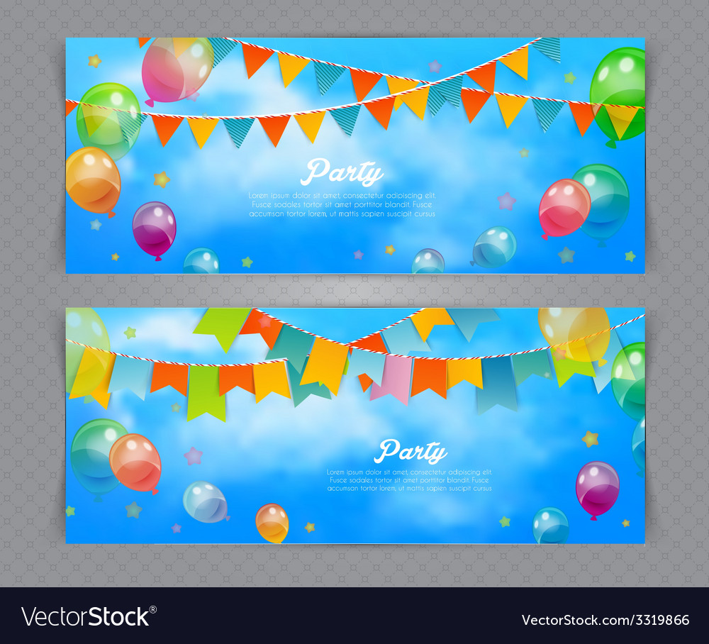 Party banner with flags and ballons vector | Price: 1 Credit (USD $1)