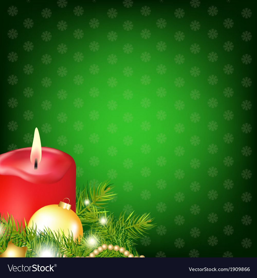 Red christmas candle with fur tree vector | Price: 1 Credit (USD $1)