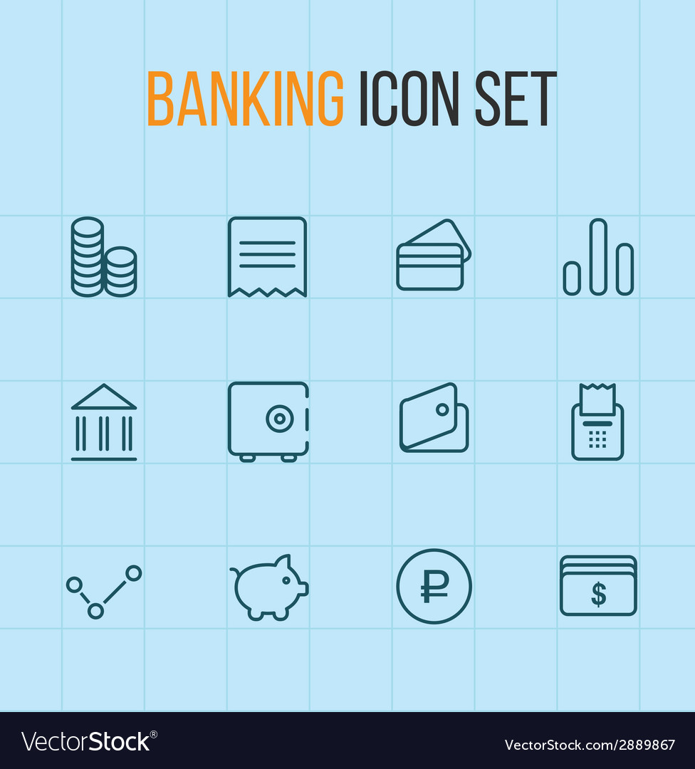 Banking outline icon set vector | Price: 1 Credit (USD $1)