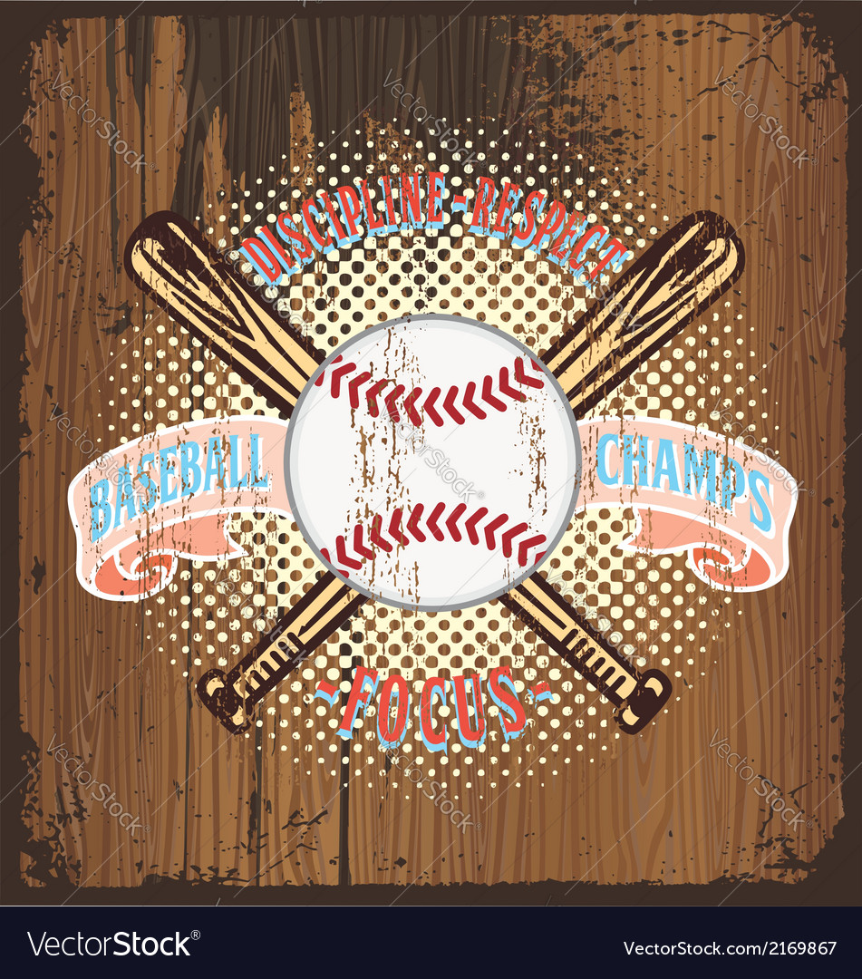 Baseball champ wooden background vector | Price: 3 Credit (USD $3)