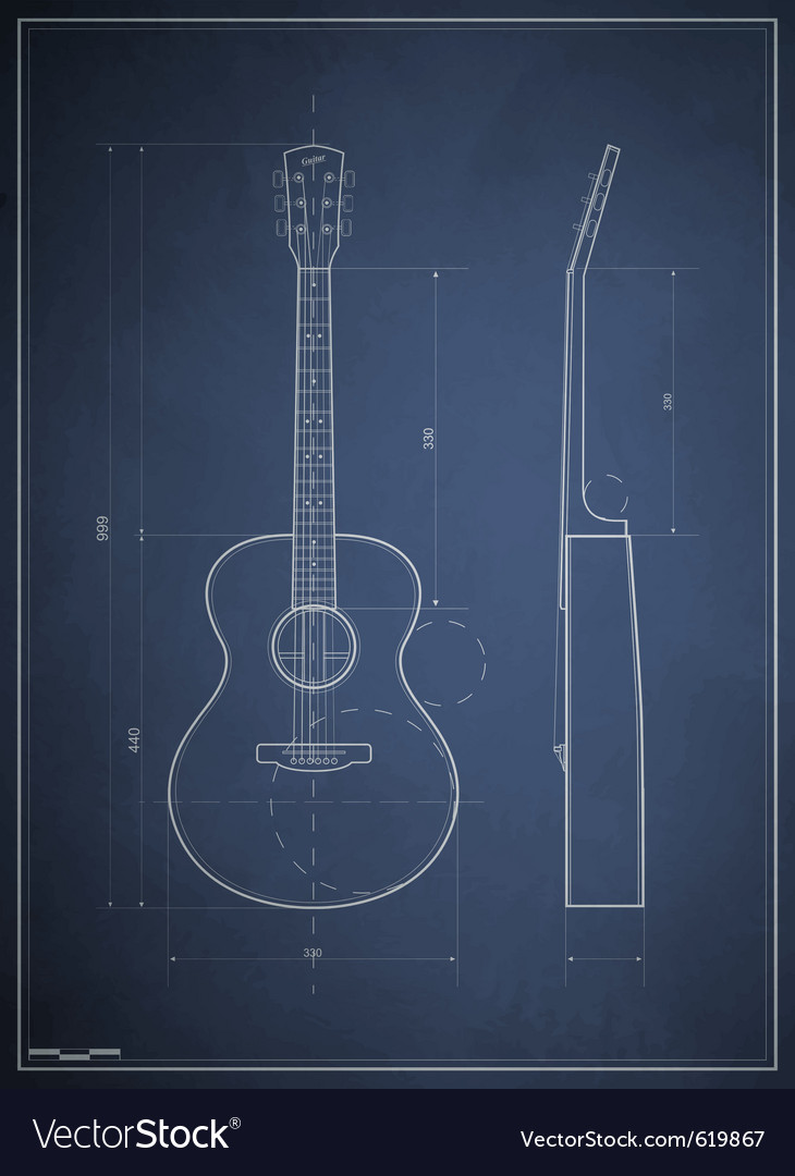 Blueprint drawing six-acoustic guitar vector | Price: 1 Credit (USD $1)