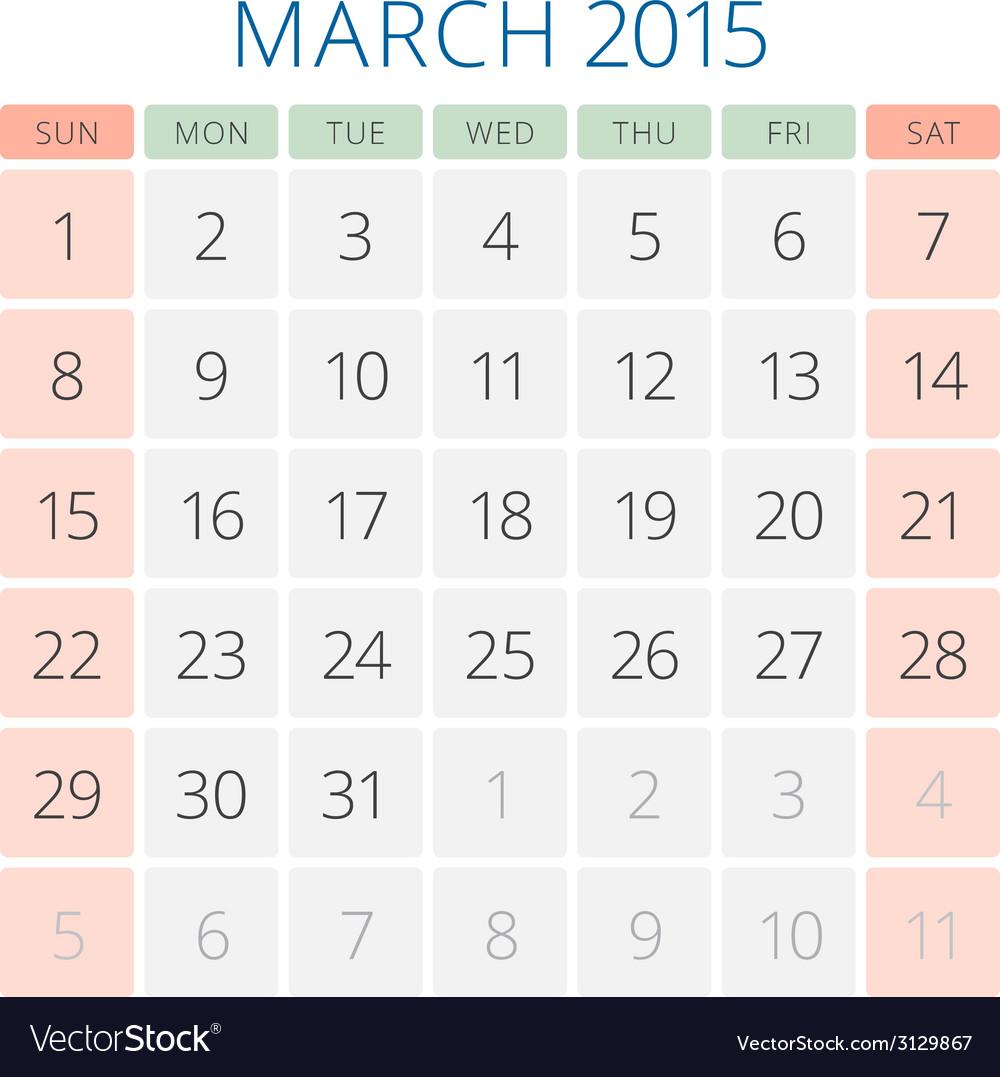 Calendar 2015 march design template vector | Price: 1 Credit (USD $1)