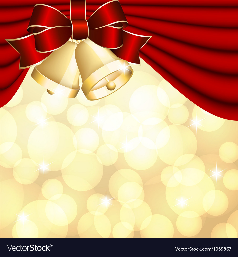 Christmas background with red curtain and gold vector | Price: 1 Credit (USD $1)