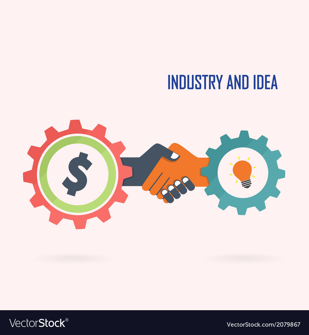 Creative handshake sign and industrial idea vector | Price: 1 Credit (USD $1)