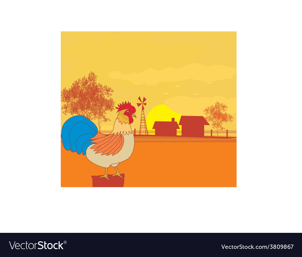 Crowing rooster on farm backgrounds vector | Price: 1 Credit (USD $1)