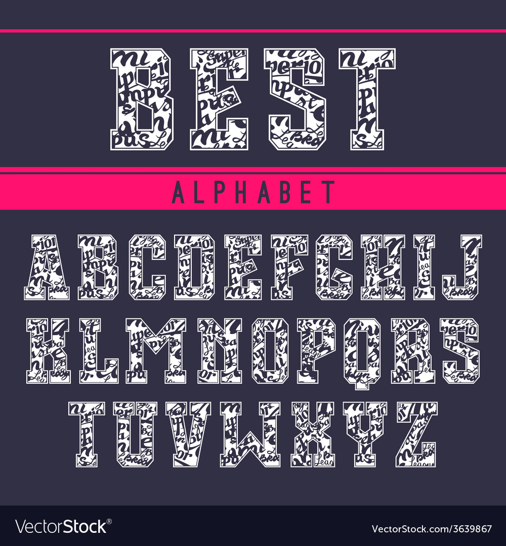 Decorative serif font in the sport style vector | Price: 1 Credit (USD $1)