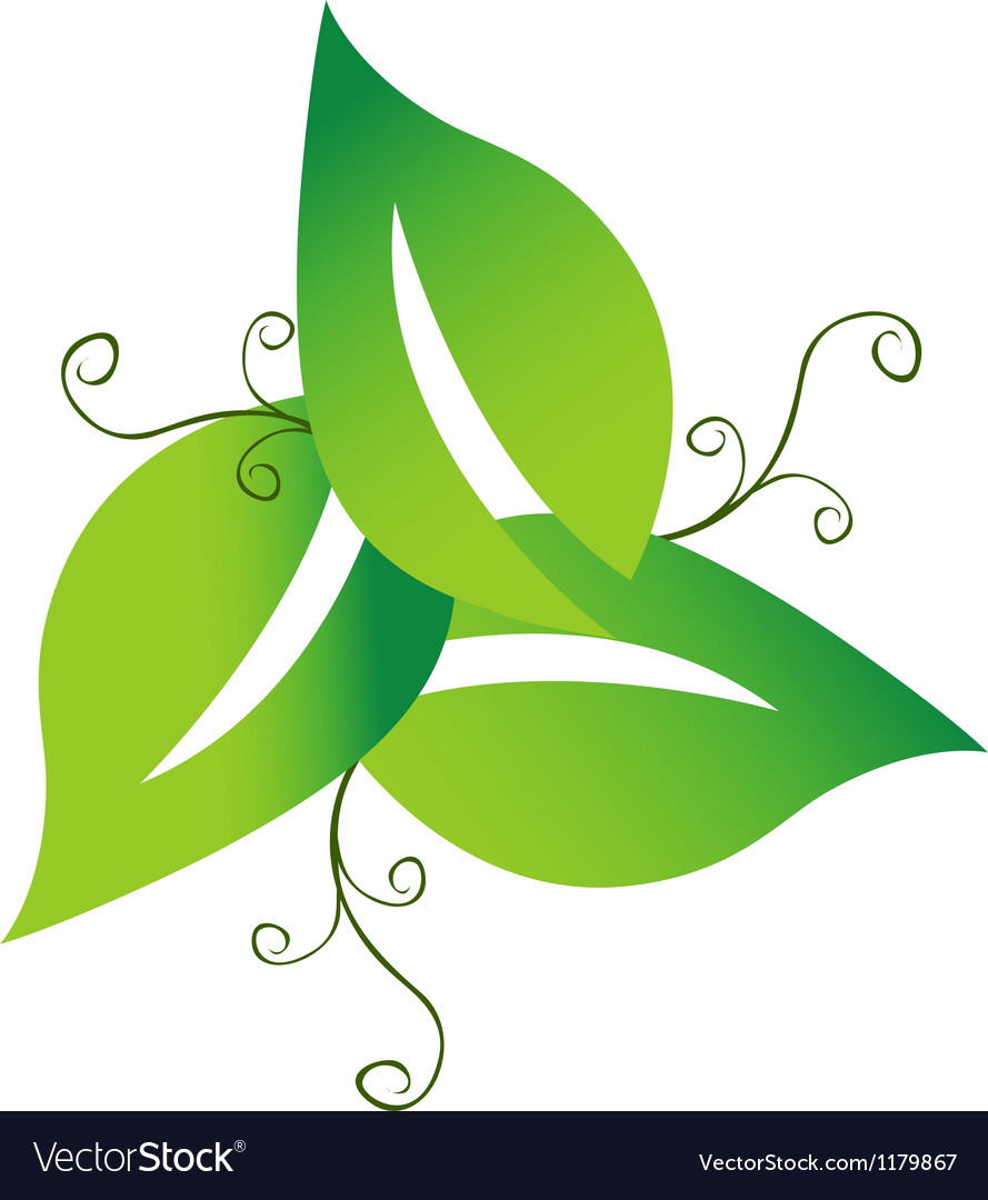 Green swirly leaves logo vector | Price: 1 Credit (USD $1)
