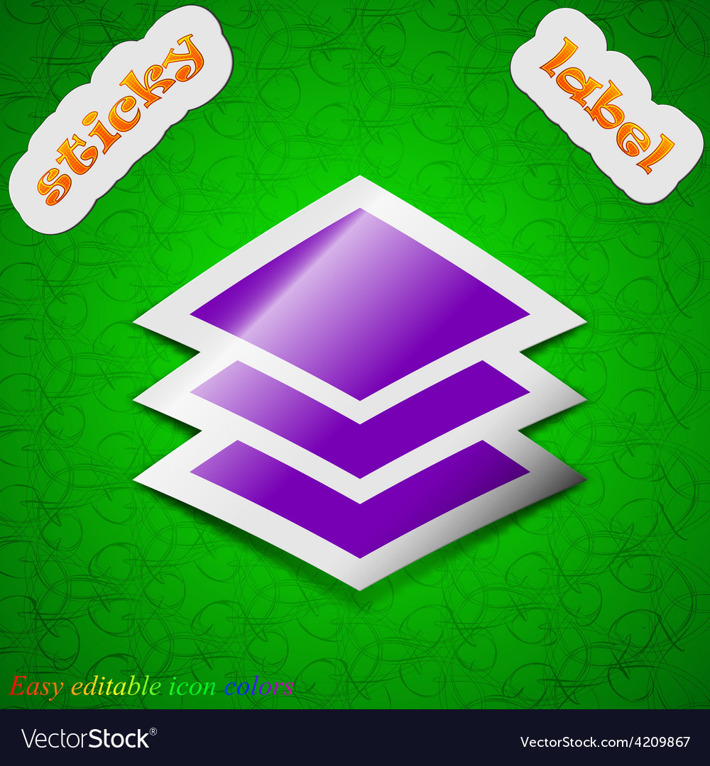 Layers icon sign symbol chic colored sticky label vector | Price: 1 Credit (USD $1)