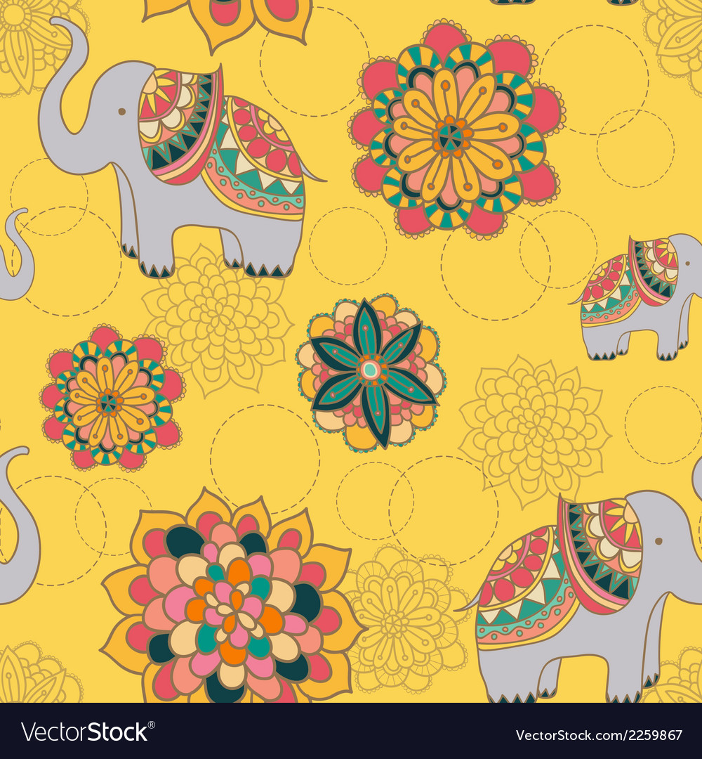 Seamless with indian elephants vector | Price: 1 Credit (USD $1)