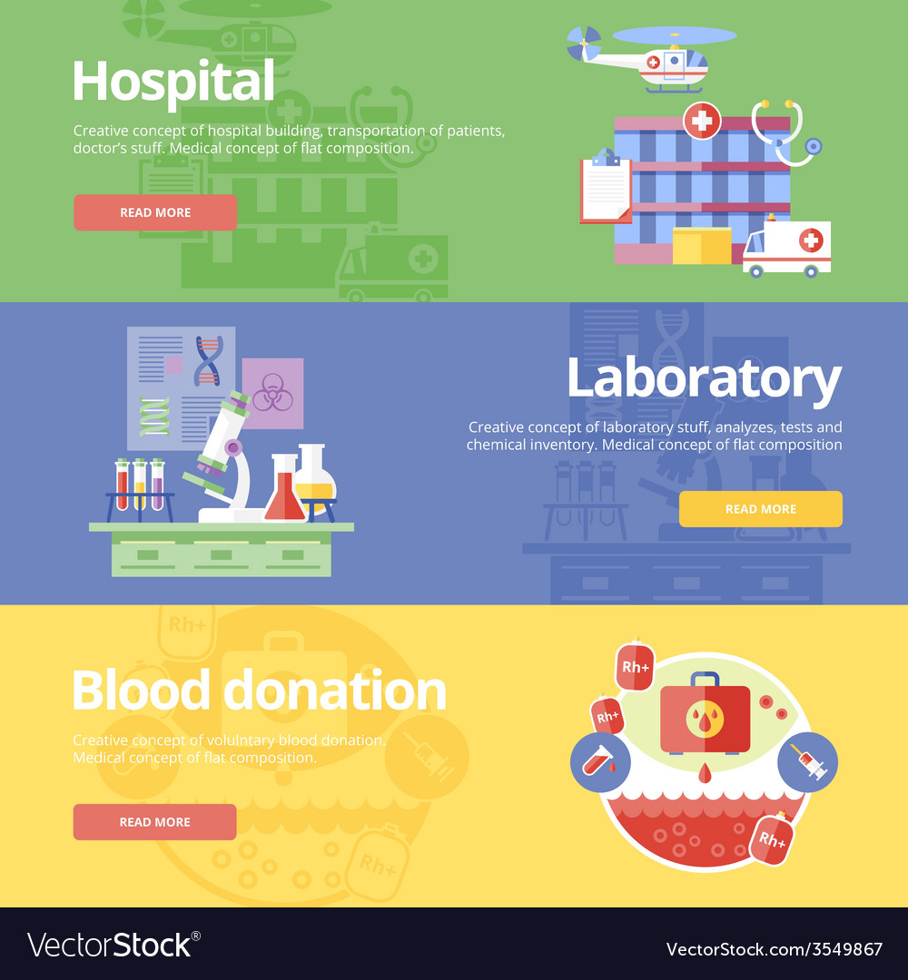 Set of flat design concepts for hospital vector | Price: 1 Credit (USD $1)