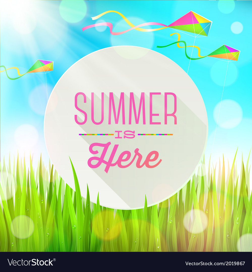 Summer greeting round banner and kites vector | Price: 1 Credit (USD $1)