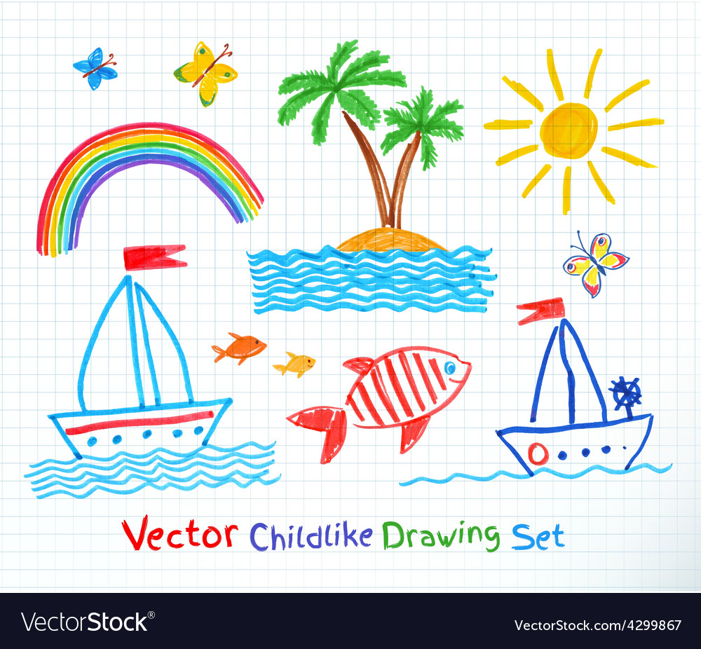 Summer seaside set vector | Price: 1 Credit (USD $1)