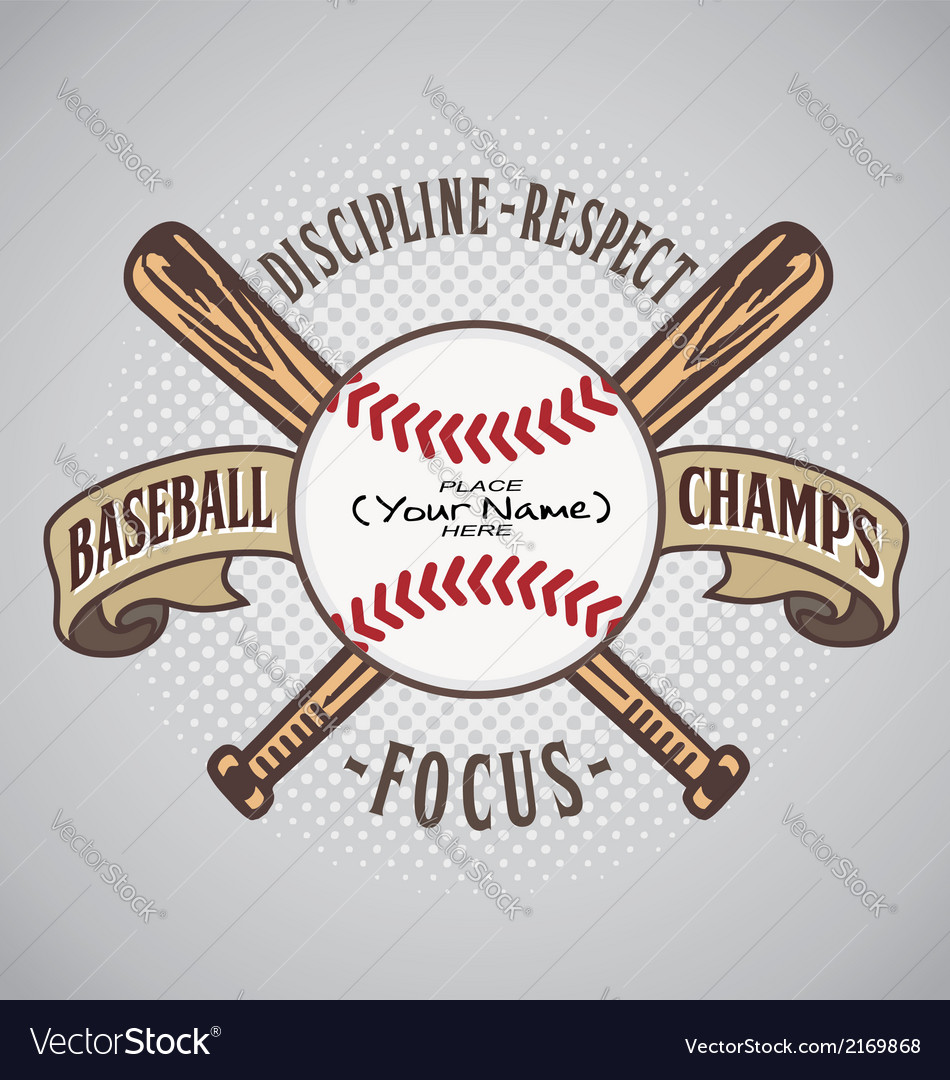 Baseball champ fill name vector | Price: 1 Credit (USD $1)