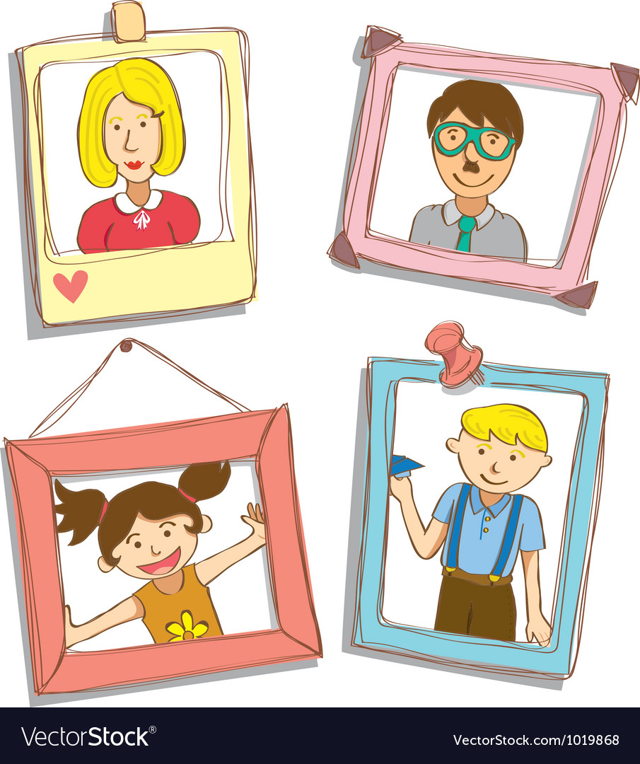 Cute frame with family photo vector | Price: 1 Credit (USD $1)