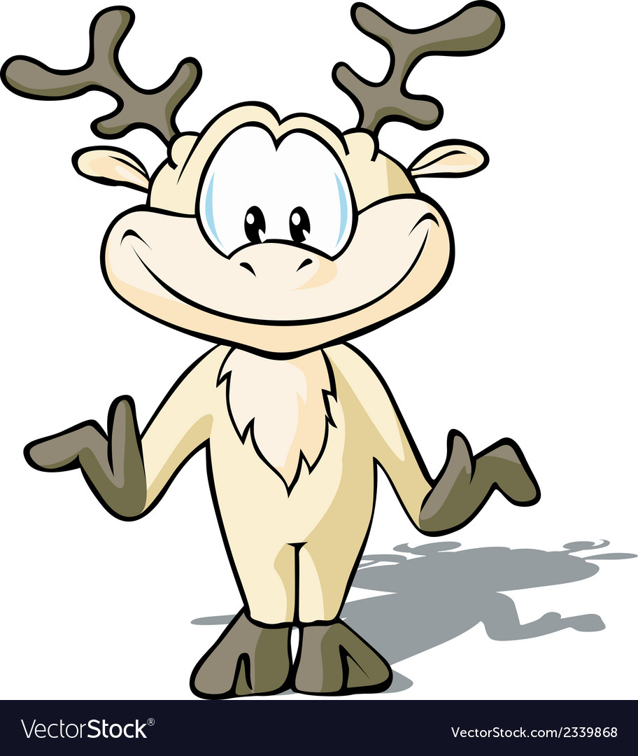 Cute reindeer cartoon vector | Price: 1 Credit (USD $1)