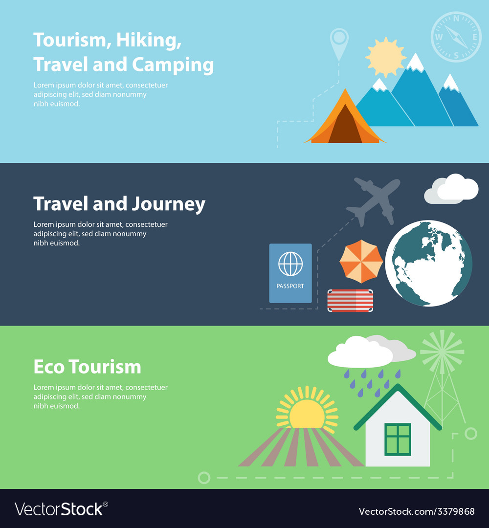 Flat banners with tourism concepts vector | Price: 1 Credit (USD $1)