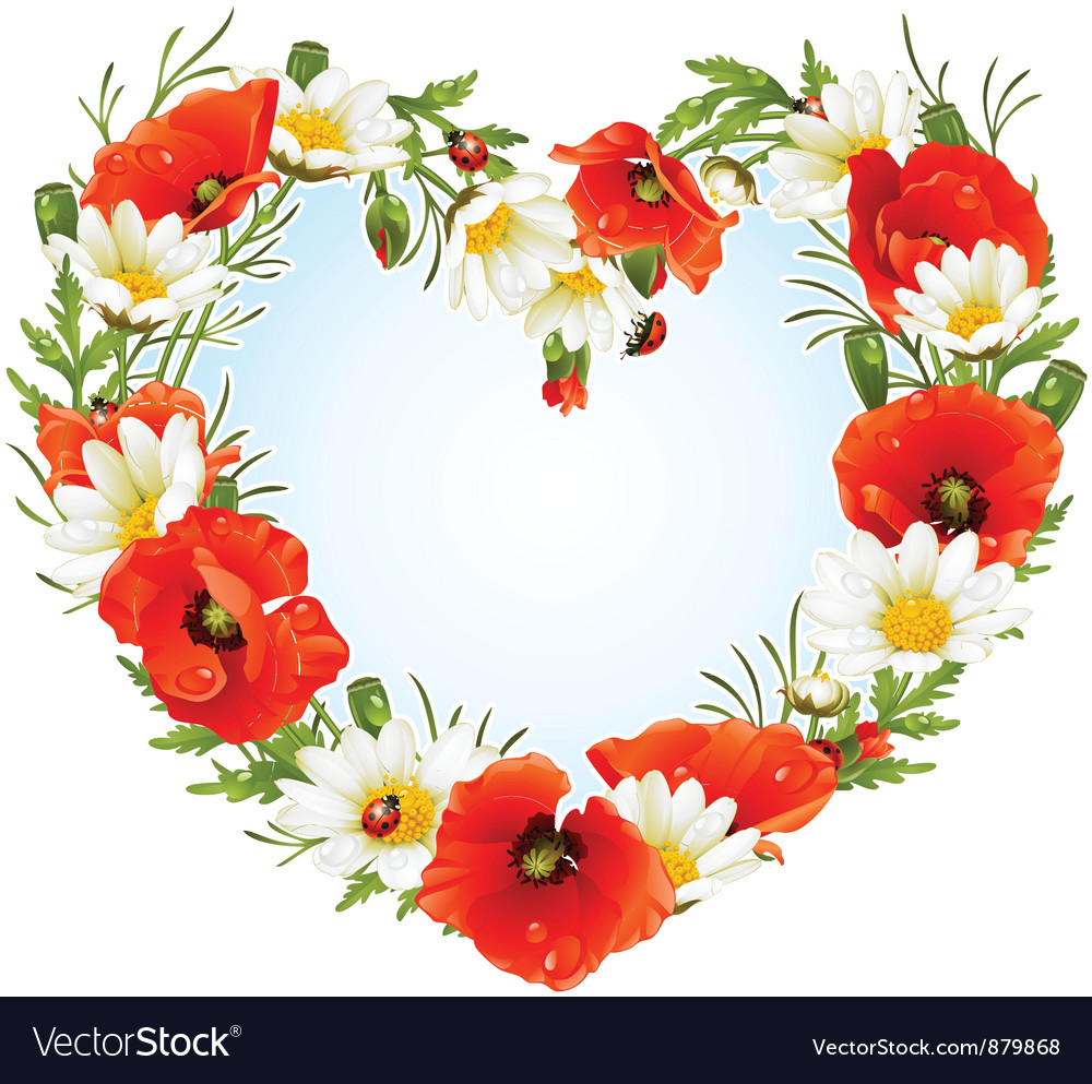Flower frame in the shape of heart vector | Price: 1 Credit (USD $1)