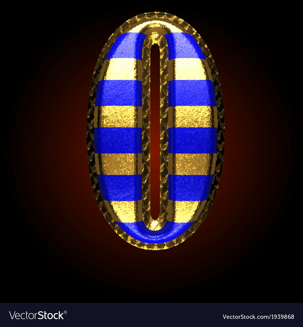 Golden and blue letter 0 vector | Price: 1 Credit (USD $1)