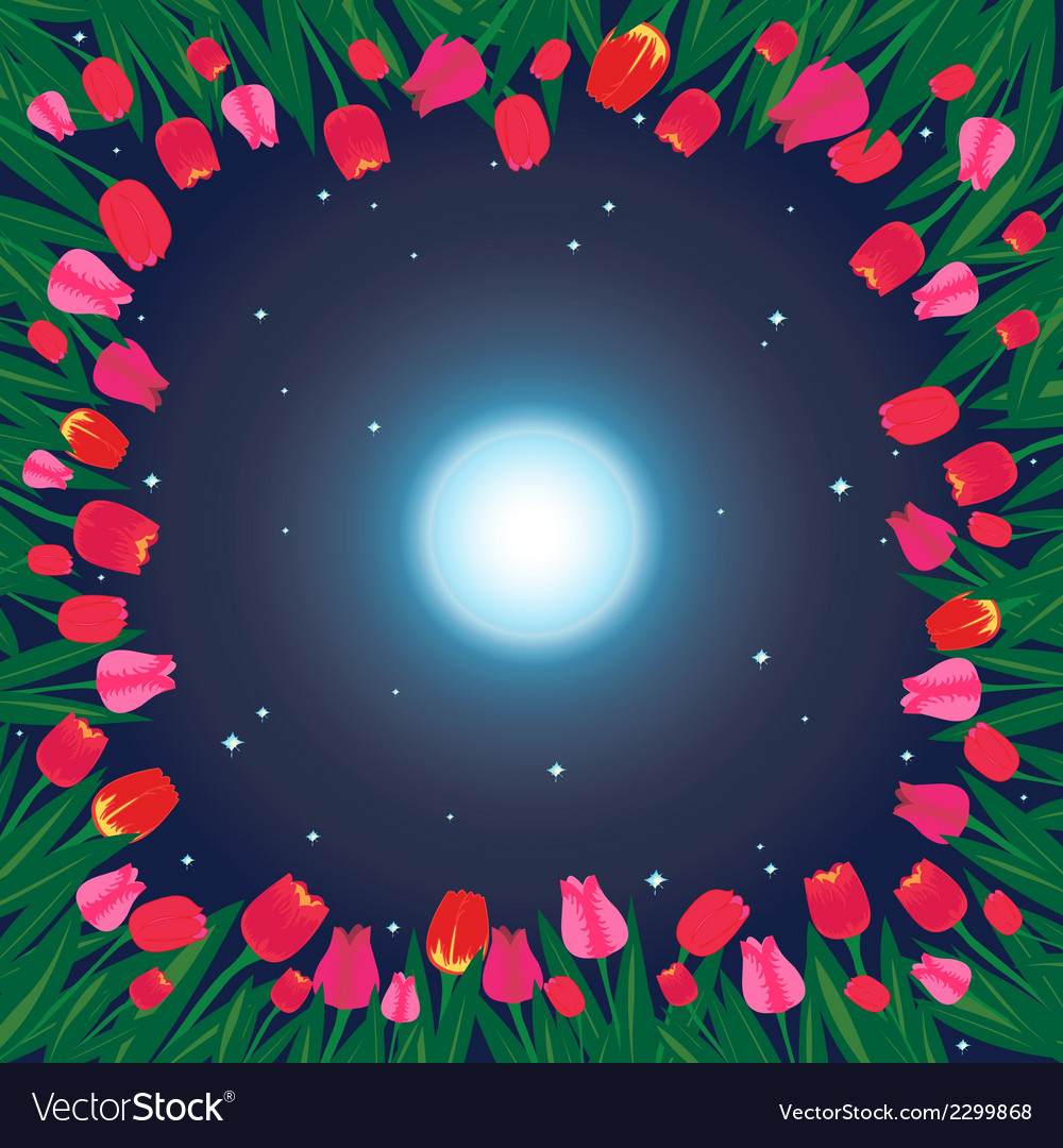 Moon on the sky and field of tulips vector | Price: 1 Credit (USD $1)