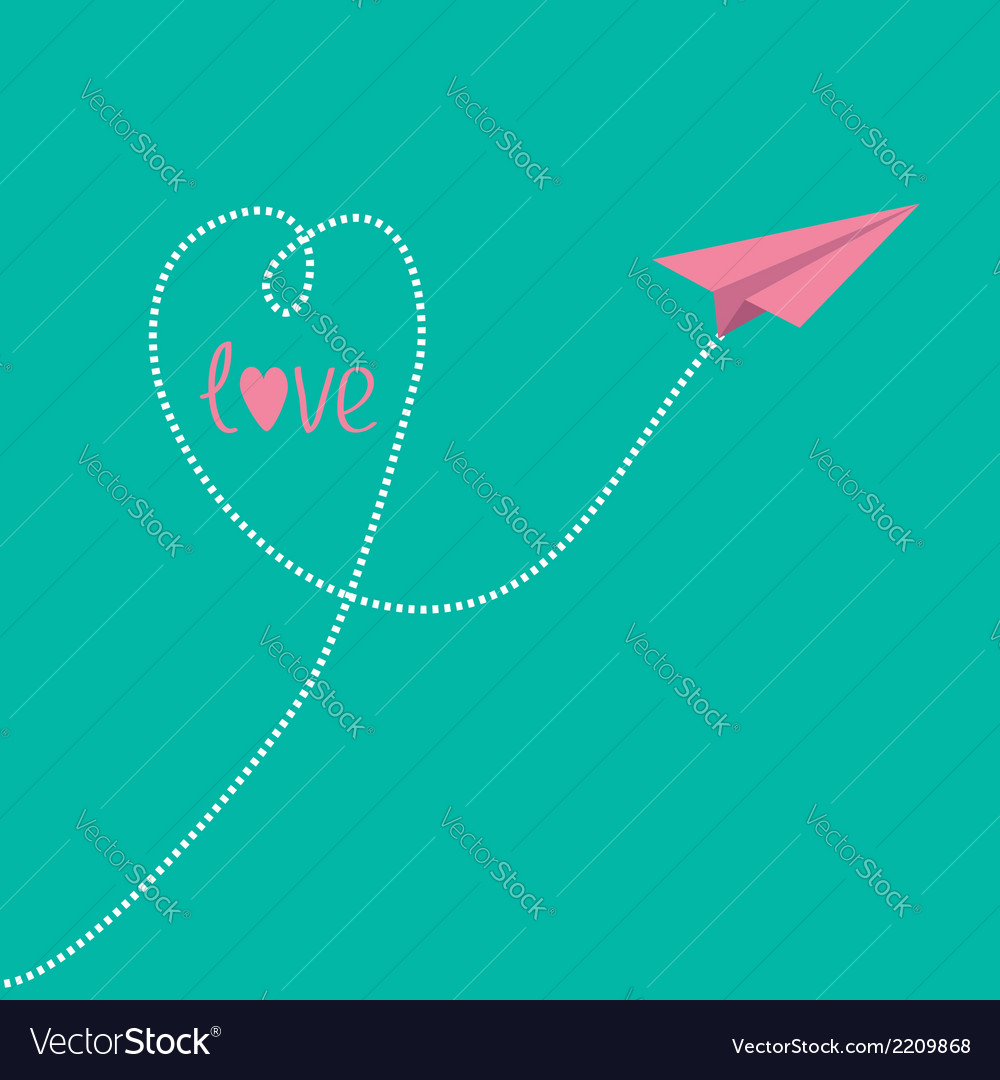 Origami pink paper plane with dash heart in the vector | Price: 1 Credit (USD $1)