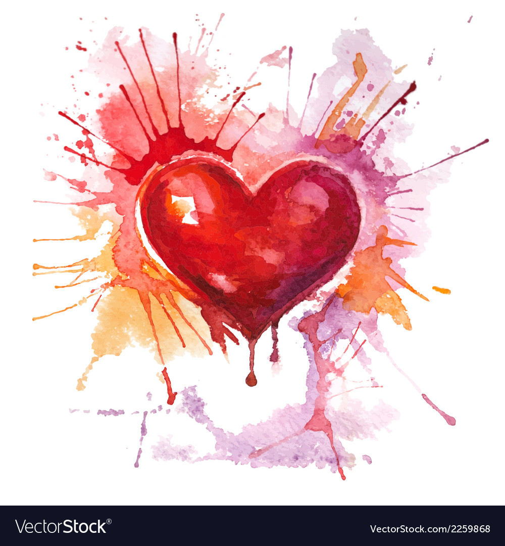 Red watercolor heart on the white background vector | Price: 1 Credit (USD $1)