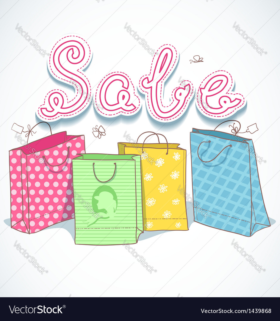 Shopping colorful decorative bags with sale text vector | Price: 1 Credit (USD $1)