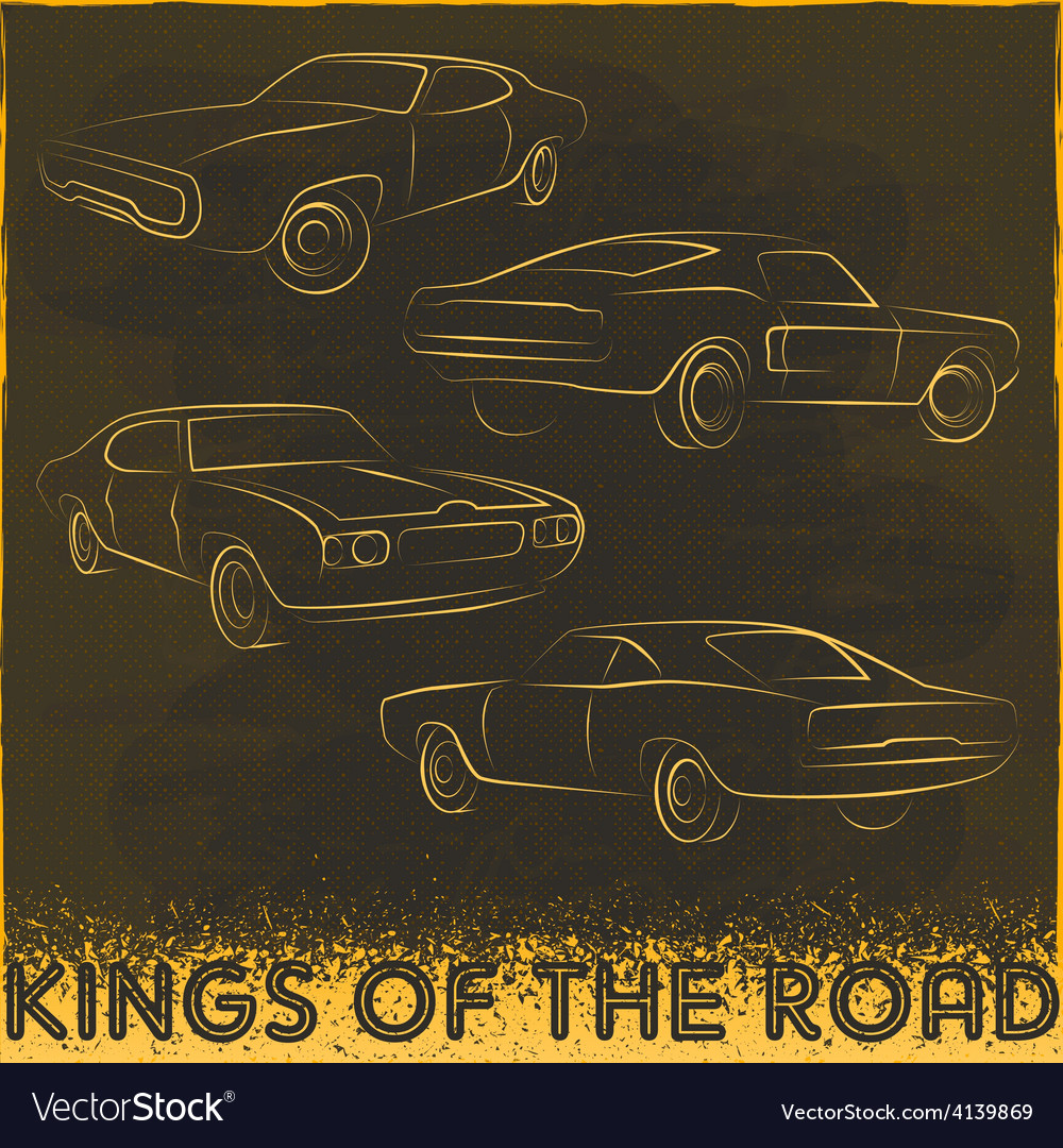 60s car design silhouettes vector | Price: 1 Credit (USD $1)