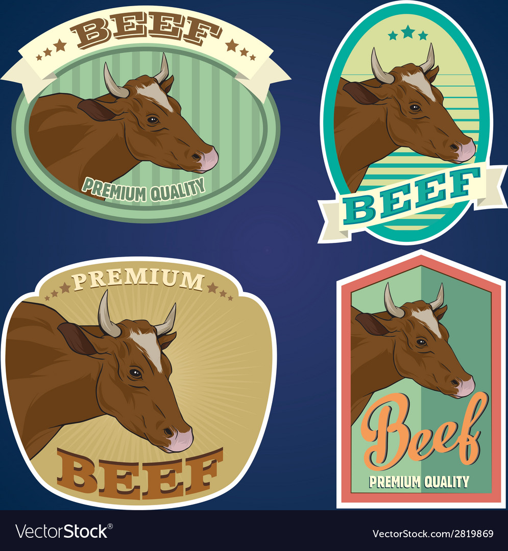 Beef vintage labels set vector | Price: 1 Credit (USD $1)