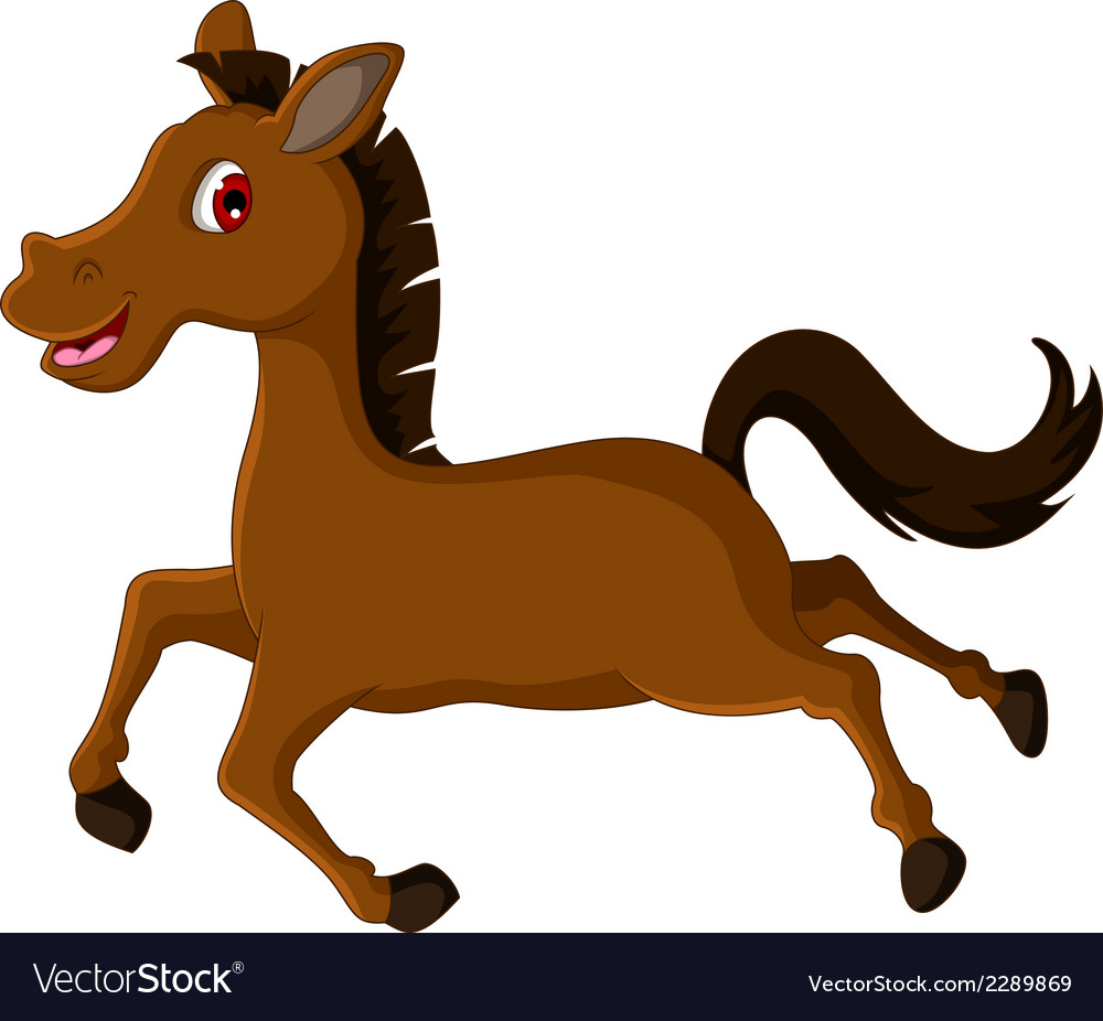 Cute brown horse cartoon running vector | Price: 1 Credit (USD $1)