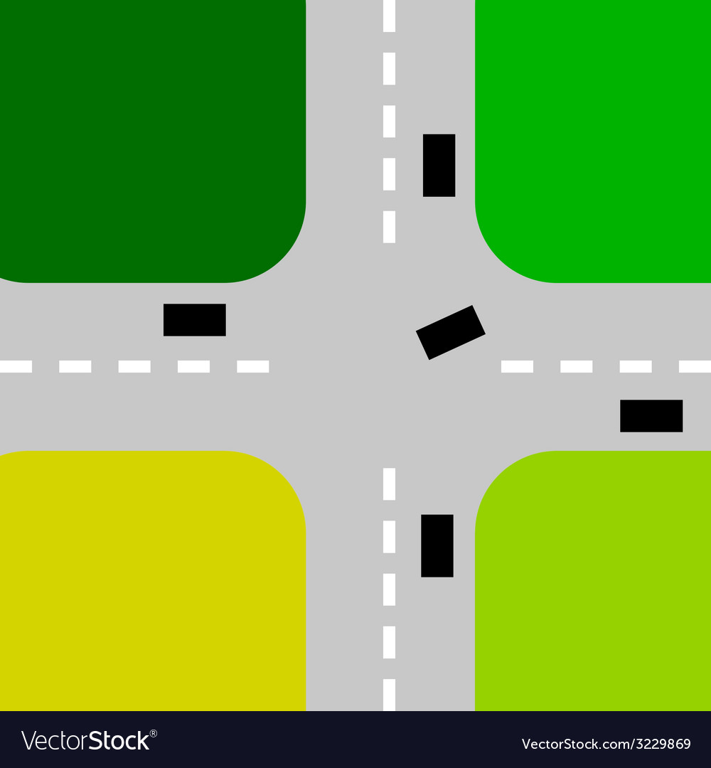 Intersection with cars color vector | Price: 1 Credit (USD $1)