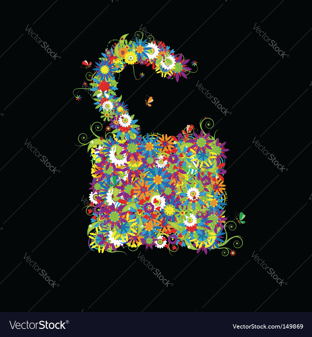 Open lock floral style vector | Price: 1 Credit (USD $1)